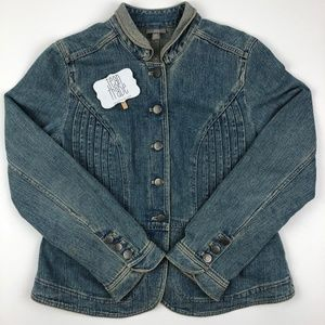 J. JILL Military Style Pleated Fitted Denim Jacket